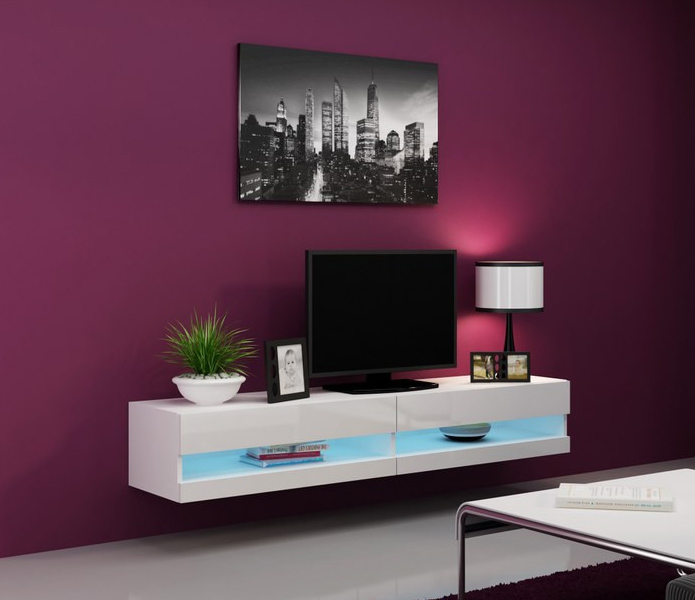 Seattle 31 white tv stands for flat screens - mueble tv barato