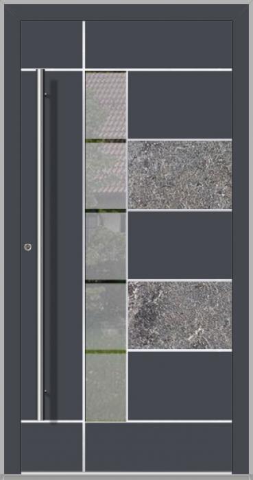LIM Baner-s -  puerta frontal de aluminio con piedra natural