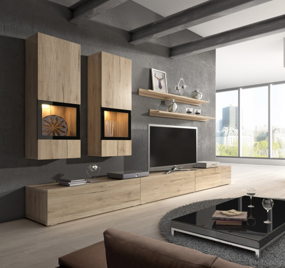 Wall unit Baros 1 oak - muebles para sala
