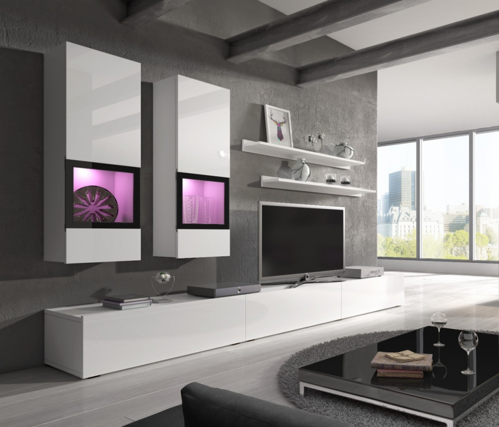 Wall unit Baros  1 white - muebles baratos online