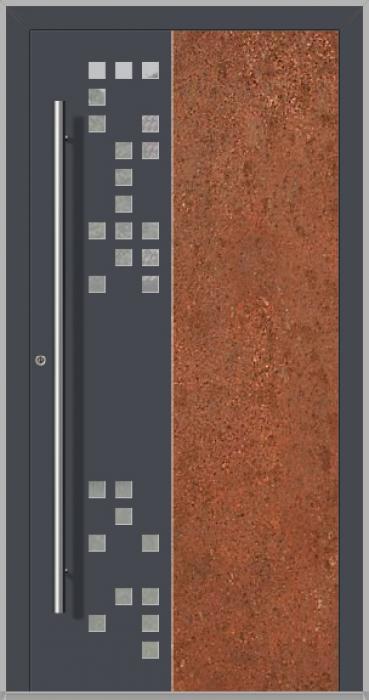 LIM DigitalC  - Puerta de entrada de aluminio con acero corten corroído