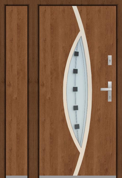configuración personalizada - Puerta Fargo sin panel lateral izquierdo abierto (vista desde el exterior)