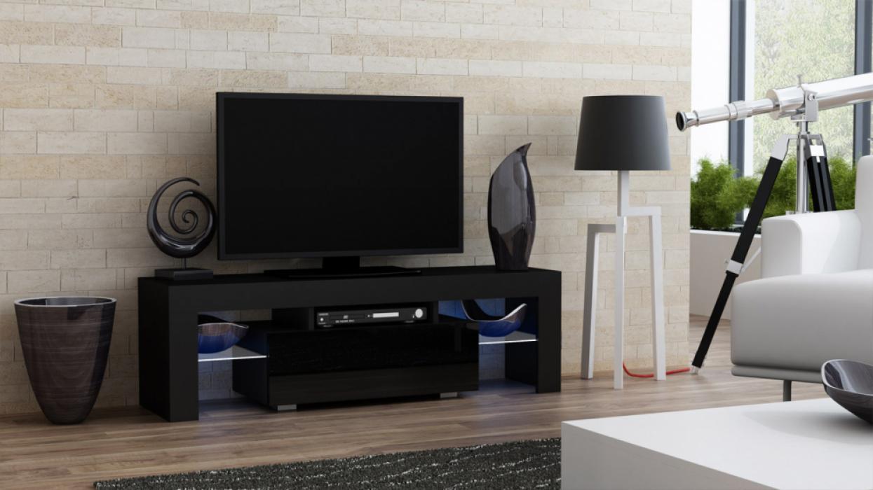 Milano 130 black TV stand - mueble de tv