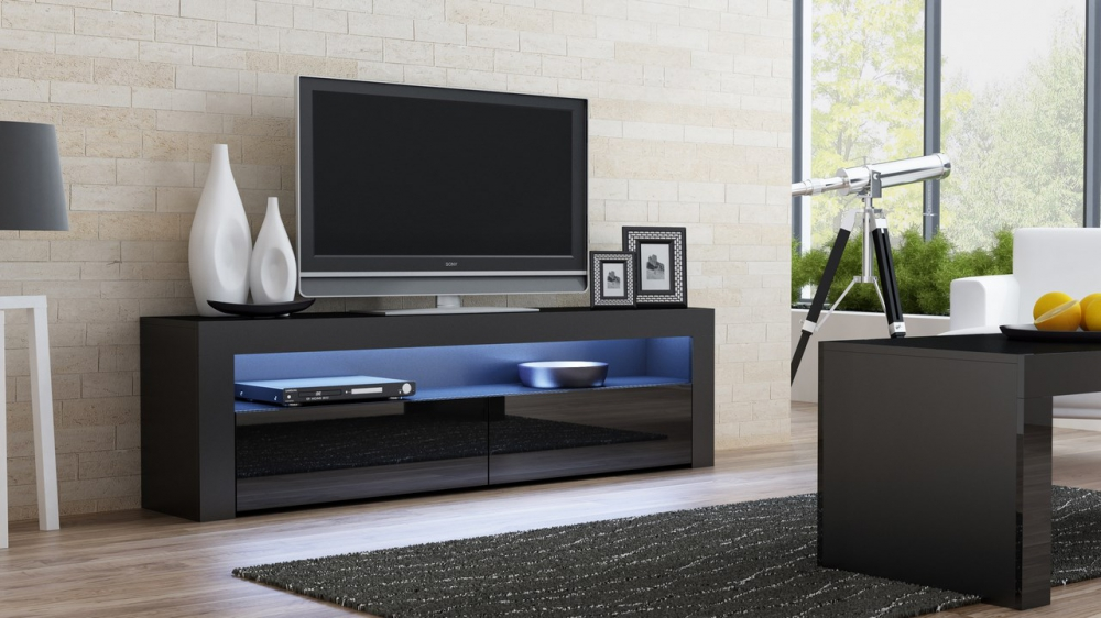 Milano 157 Classic  Black gloss TV stand - mueble tv barato