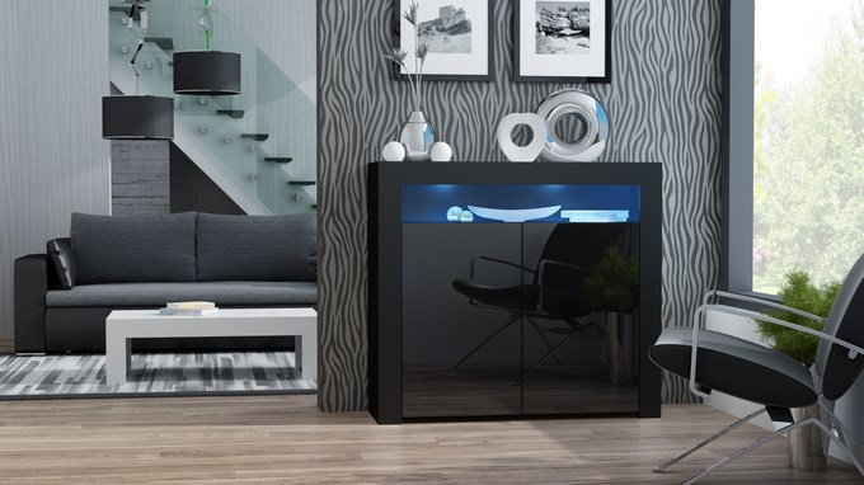 Aparador Milano 2D negro - cómodas baratas