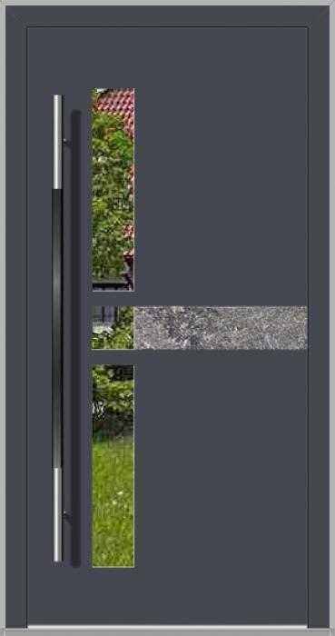 LIM Chip-BS - puerta de entrada de aluminio con piedra natural
