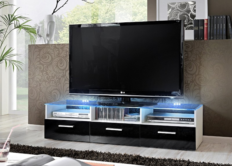 Lyon 1 Gloss black fronts Modern TV Stand - mesas para tv