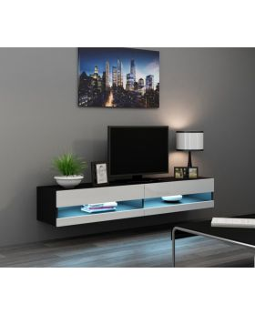 Seattle 34 black and white wooden tv stands - mesa para TV